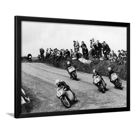 Lightweight Art - Action from the Lightweight Tt Race, Isle of Man, 1958 Framed Print Wall Art