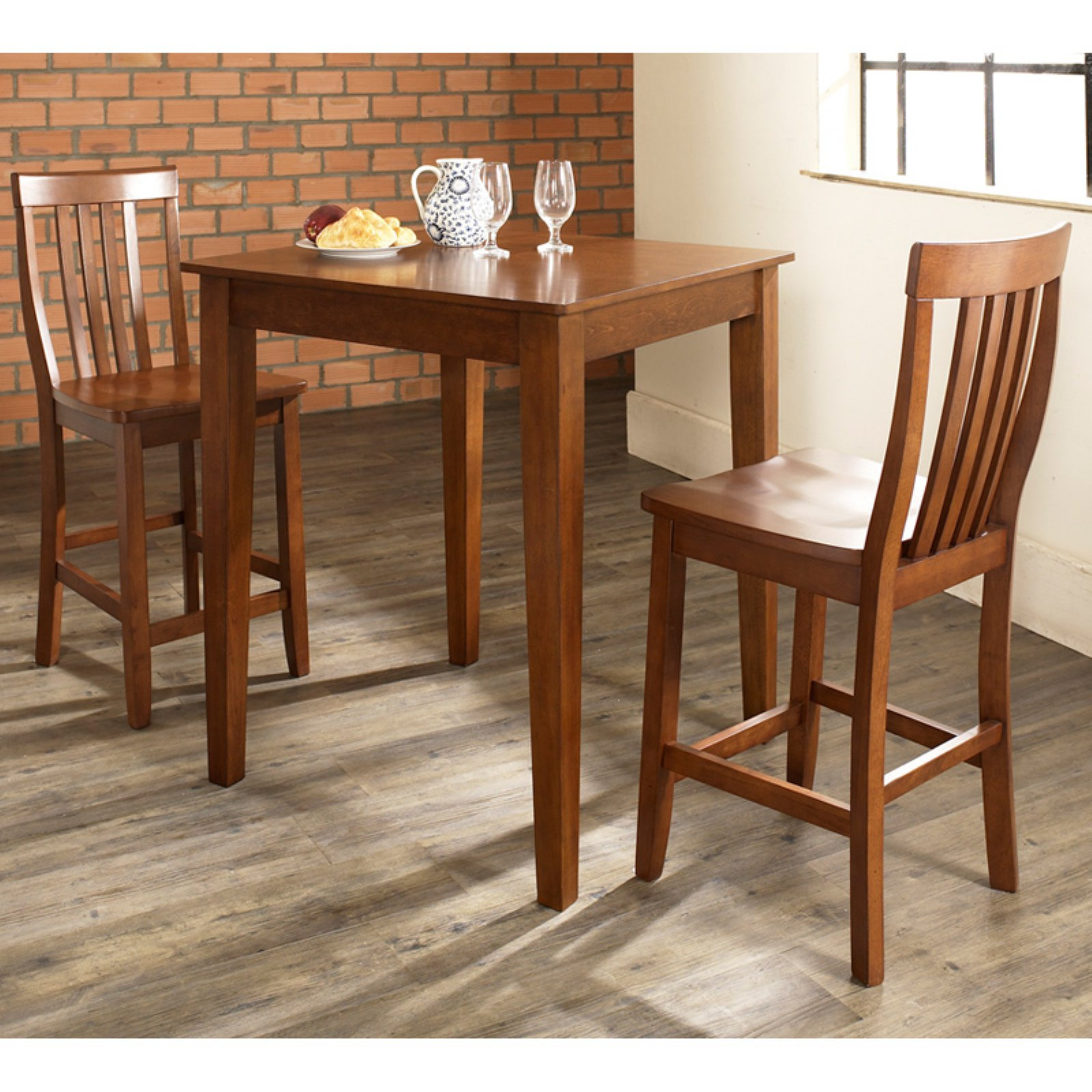 Crosley Furniture 3-Piece Pub Dining Set with Tapered Leg and School House Stools