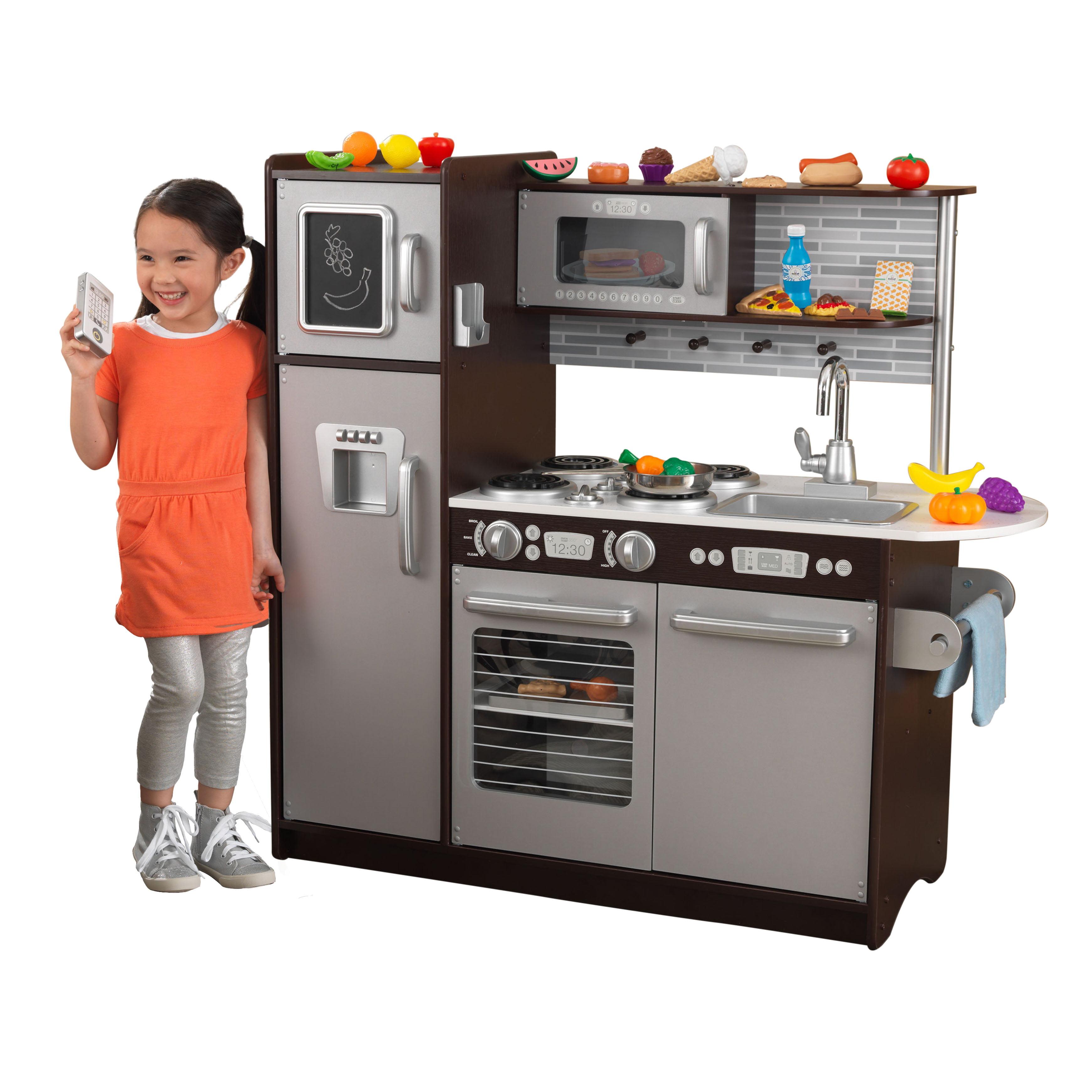 KidKraft Uptown Espresso Kitchen with 30 Piece Play Food by KidKraft