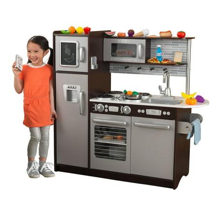 kidkraft uptown espresso kitchen with 30 piece play food. Black Bedroom Furniture Sets. Home Design Ideas