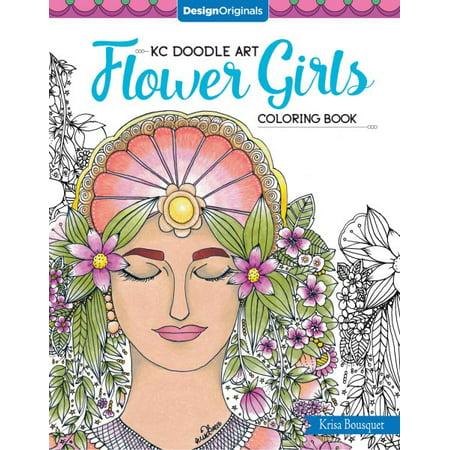 Kc Doodle Art: Kc Doodle Art Flower Girls Coloring Book (Paperback) ()