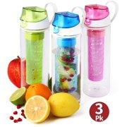Herevin Fruit Infuser Water Bottle 3 Pack 25oz Infused Water Bottle- Unique Fun and Healthy Infusion Rod Infuser Bottle for Kids and Adults - Multicolor Set