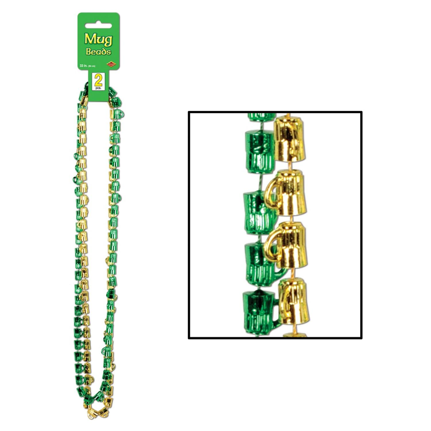 Club Pack of 24 Green and Gold Beer Mug St. Patrick's Day Bead Necklaces 33""