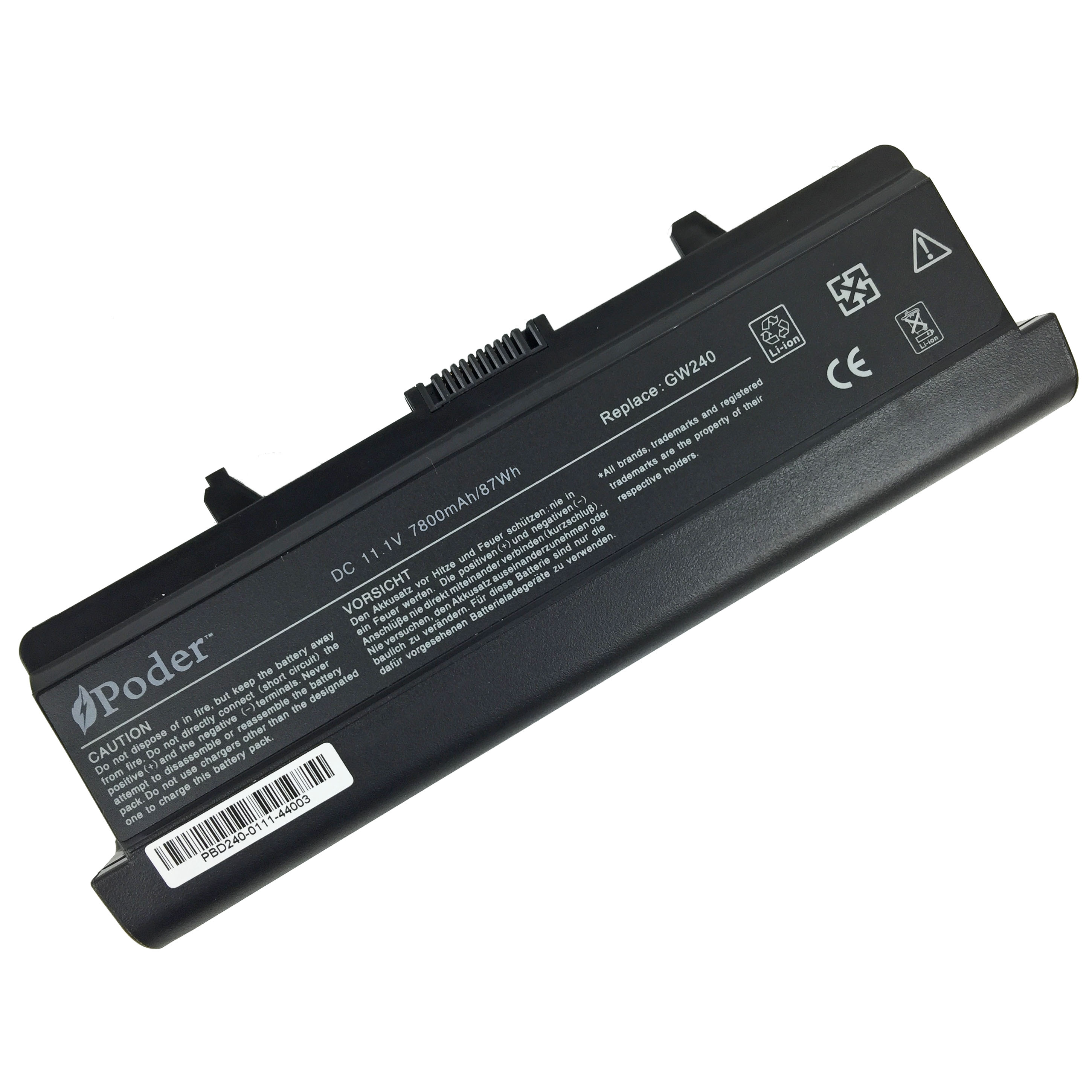 New Poder Premium High Quality 9 Cell Replacement Battery for Dell Inspiron 15 1525 1526 1545 1546 11.1V 7800mAh 87Wh