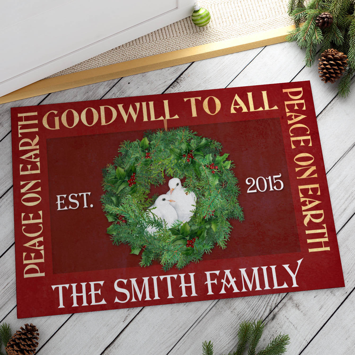 Personalized Peace On Earth Doormat