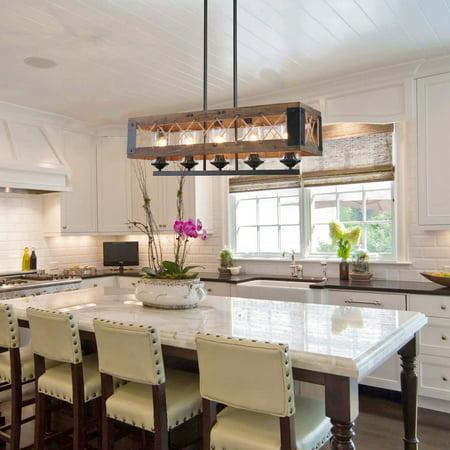 LNC Rustic Wood Island Lighting Kitchen Chandelier Linear 5 lights Wooden Pendant