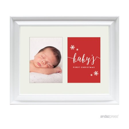 First Christmas Double White 5 x 7-Inch Photo Frame Baby Wall - Christmas Baby Photo