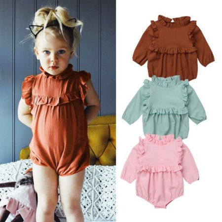 ebfc12556ce3 Newborn Kids Baby Girls Princess Cotton Tops Long Sleeve Romper Jumpsuit  Outfits Clothes - Walmart.com
