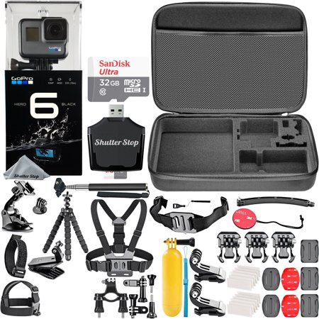 GoPro HERO6 Black + SanDisk Ultra 32GB Memory Card + Hard Case + Card Reader + Chest Strap Mount + Head Strap Mount + Flexible Tripod + Extendable Monopod + Floating Handle + Hero 6 Best Value (Best Gopro For Night)