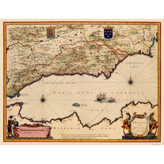 Old Iberian Peninsula Map Granada And Murcia Spain Blaeu 1635
