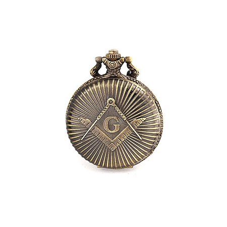 Bling Jewelry Antique Style Large Freemason Symbol Quartz Mens Pocket Watch Silver (Large Pocket Watch)