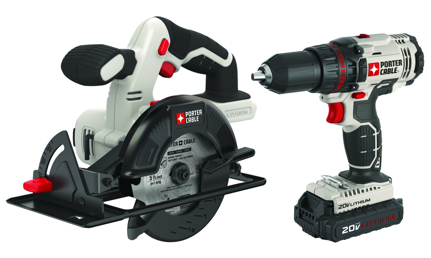 PORTER-CABLE 20-Volt Max 1//2-in Cordless Drill with Charger and 2 Batteries