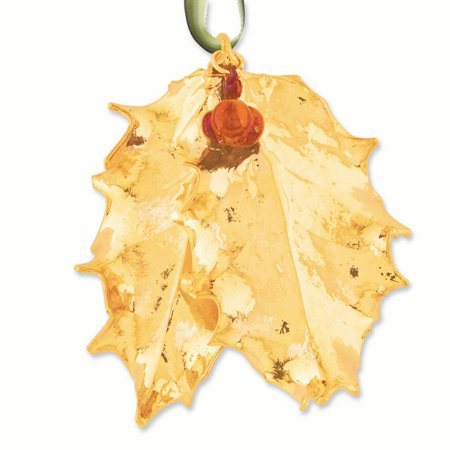 24k Dipped Holly Leaves/Iridescent Copper Berries Decorative (4 Week Copper Leaf)