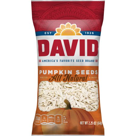 DAVID Roasted and Salted Pumpkin Seeds, 2.25 oz](Roasted Pumpkin Seeds Halloween)
