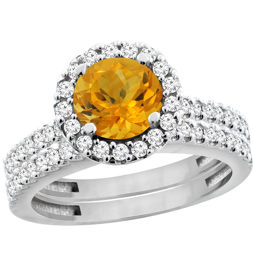 14K White Gold Natural Citrine Round 6mm 2-Piece Engagement Ring Set Floating Halo Diamond, size 7 by Gabriella Gold
