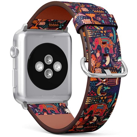 (Hand Drawn Tribal Pattern with Decorative Elephant Fish Moon and Geometric Elements) Patterned Leather Wristband Strap for Apple Watch Series 4/3/2/1 gen,Replacement for iWatch 42mm / 44mm thumbnail