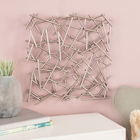 """CosmoLiving Large Square Contemporary Silver Abstract Art Metal Wall Decor   20"""" x 20"""" ()"""