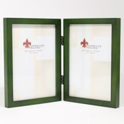 5x7 Hinged Double Green Wood Picture Frame - Gallery Collection