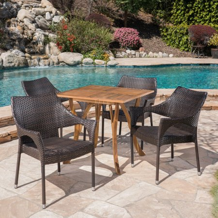 Outdoor 5 Piece Acacia Wood/ Wicker Dining Set, Teak,Multibrown ()