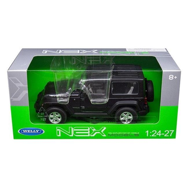 Welly 22489DKGRY 2007 Jeep Wrangler Metallic 1 by 24 - 1 by 27 Diecast Model Car - Dark Gray