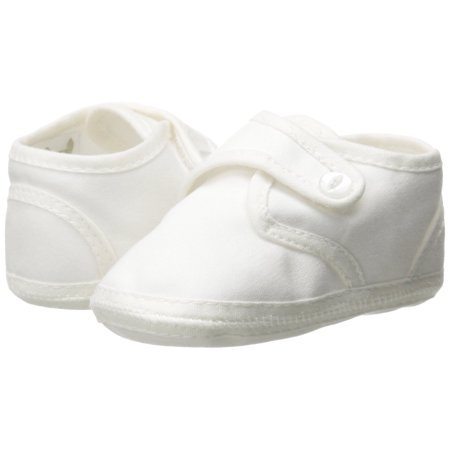 Little Things Mean a Lot Boys White Cotton Shoe with Button Closure