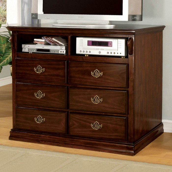 Tuscan II Traditional Style Media Chest, Dark Pine Finish