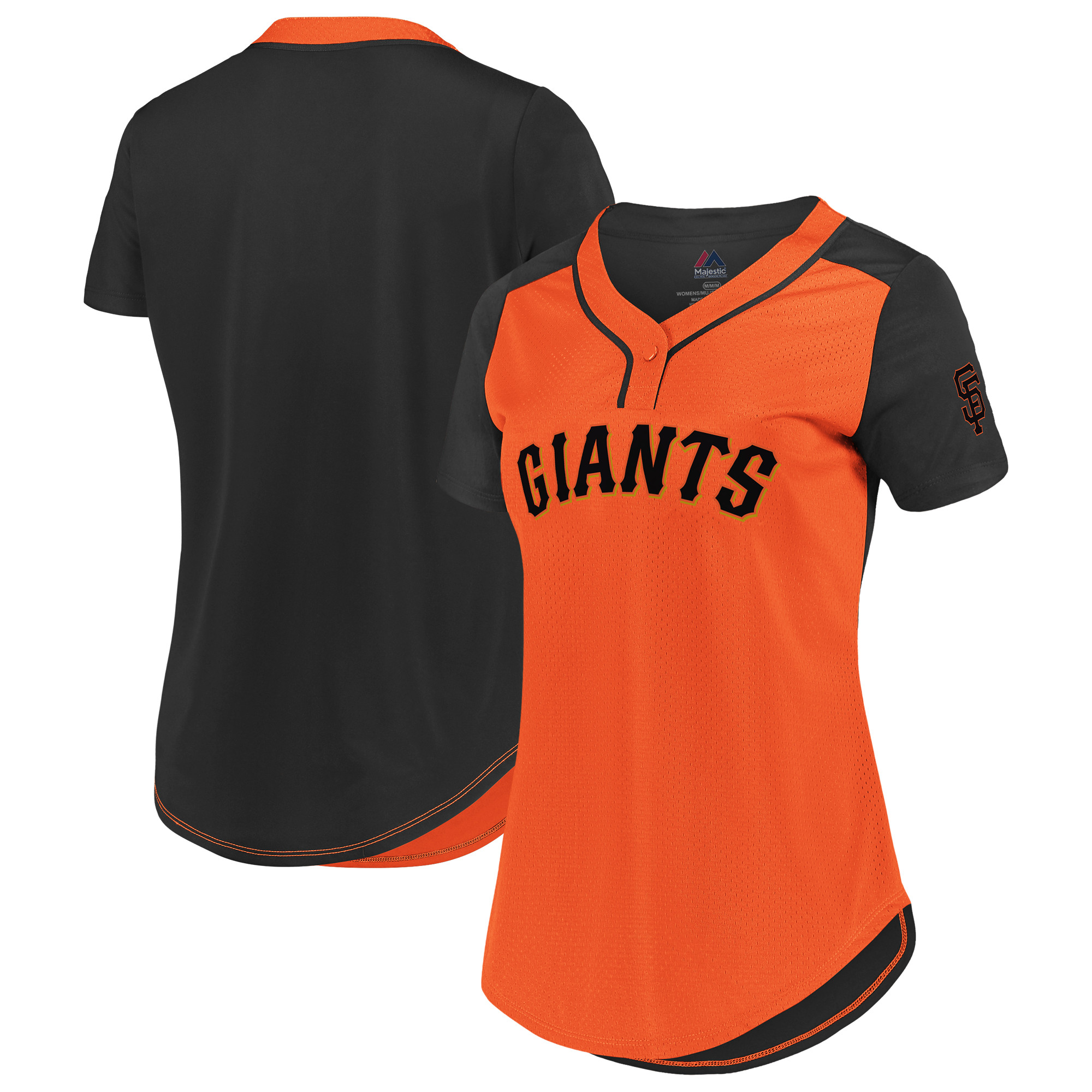 San Francisco Giants Fanatics Branded Women's Plus Size League Diva Mesh T-Shirt - Orange/Black