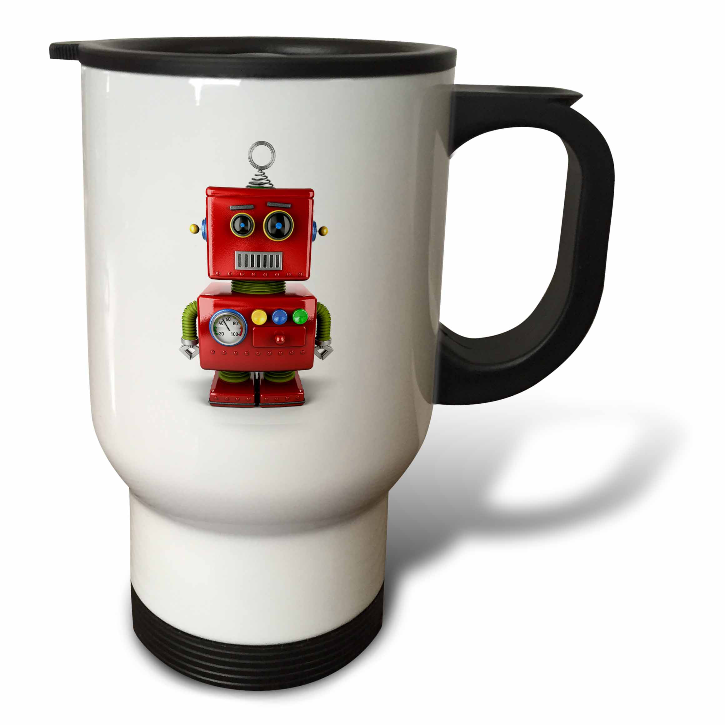 3dRose Vintage toy robot with neutral facial expression cute, Travel Mug, 14oz, Stainless Steel