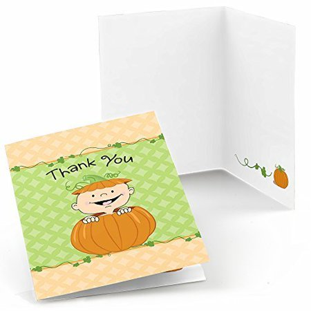 Thank You For Baby Shower (Little Pumpkin Caucasian - Fall Baby Shower or Birthday Party Thank You Cards (8)