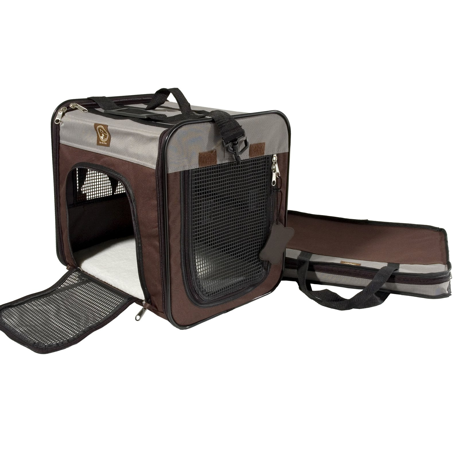 One For Pets Folding Carriers - The Cube - Large - Cream/Brown