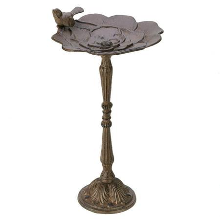 Decorative Bird Baths, Cast Iron Metal Brown Shallow Bird Bath With