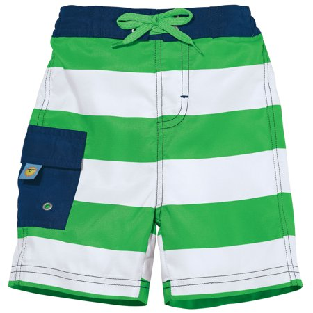 Sun Smarties Baby Boy Swim Diaper - Green and White Stripe - Swim Diaper Trunks