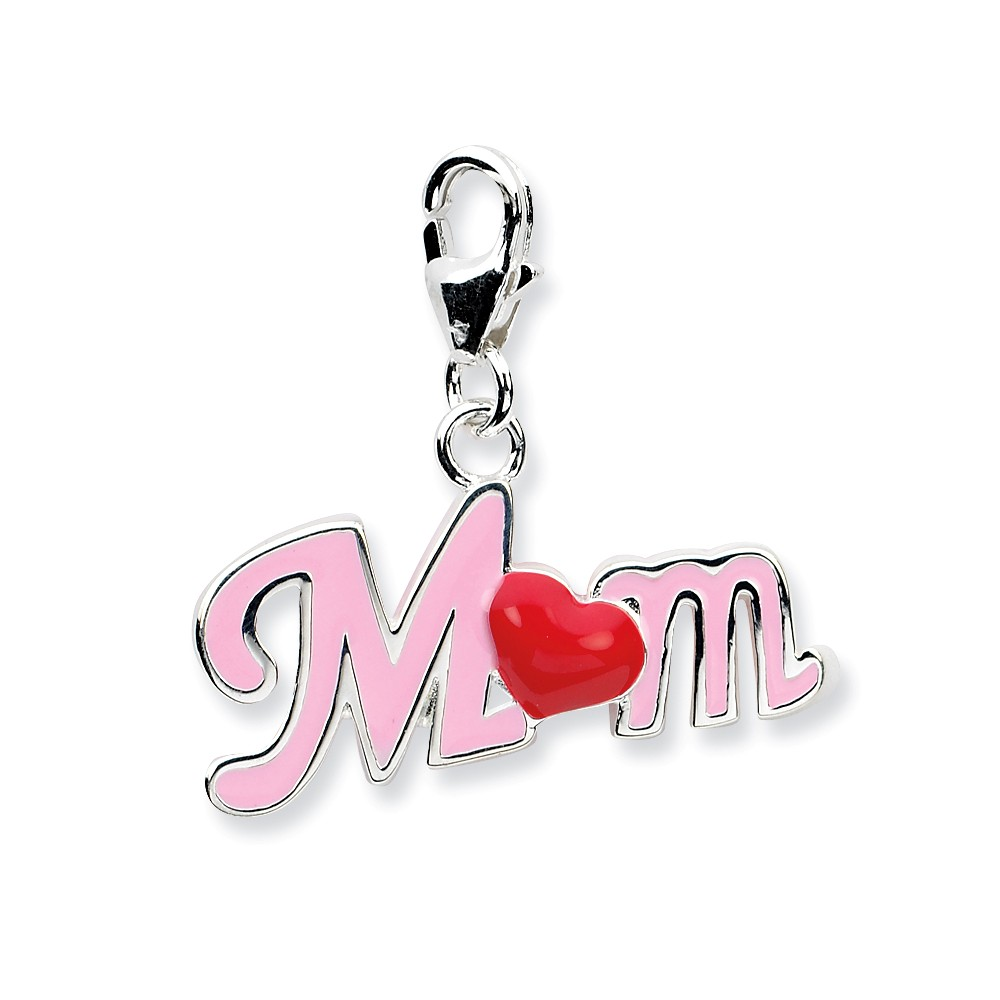 Sterling Silver 3-D Enameled Momwith Lobster Clasp Charm (0.5in long x 0.9in wide)