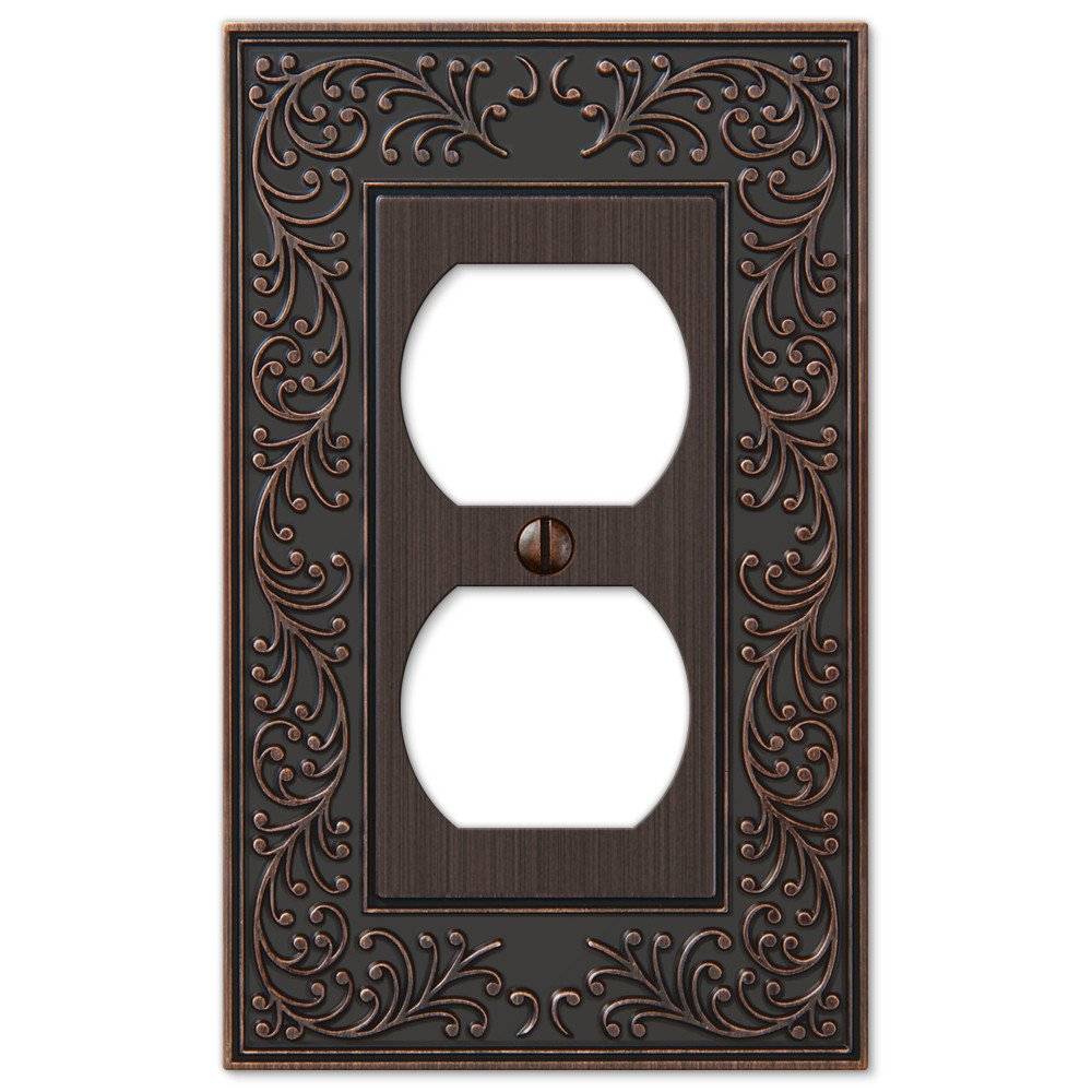 French Garden Single Duplex Outlet Wall Switch Plate Outlet Cover, Oil Rubbed Bronze