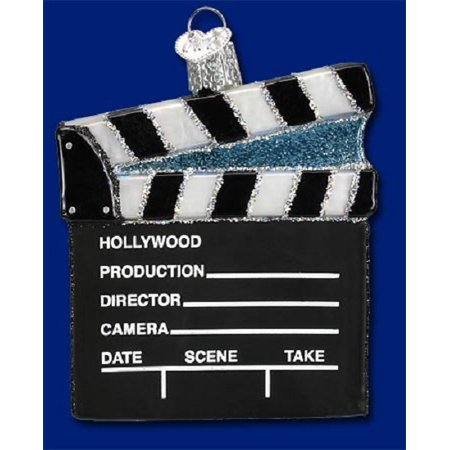 Hollywood Director Board Old World Christmas Glass Ornament 36111 New FREE BOX - Hollywood Christmas Ornaments