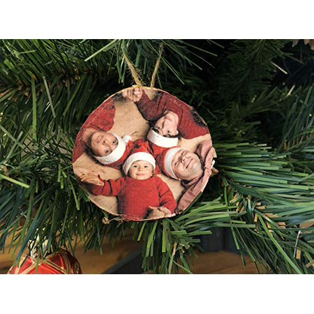 Personalized Photo Wood Tree Ornament - Custom Christmas Decoration Printing Ornaments for with bark – 2