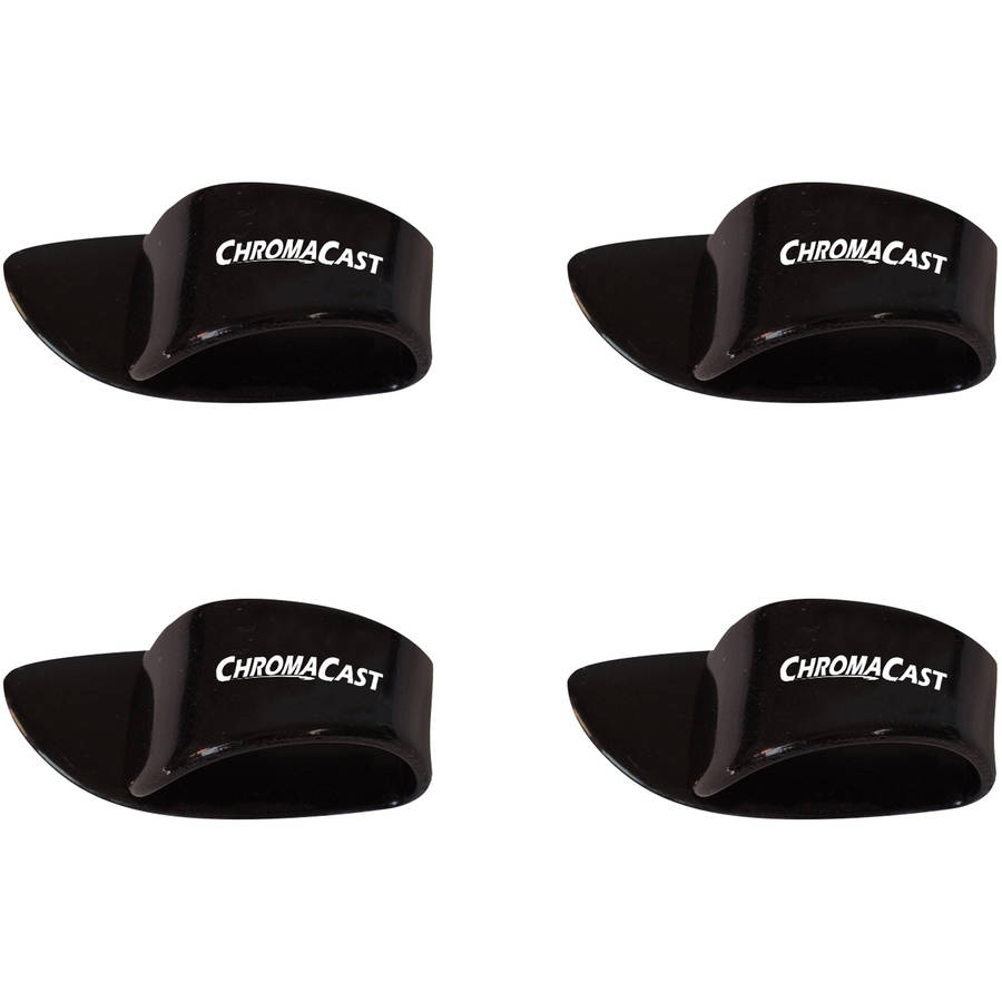 ChromaCast Large Black Thumb Guitar Pick, 4 Pack