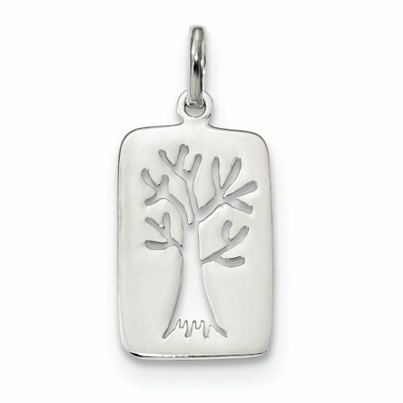 Sterling Silver Polished Tree Cut-out Charm (Sterling Silver Spoon Charm)