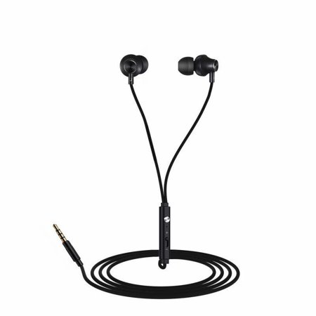 Tiehnom In-Ear Earbuds Earphones Headphones 3.5mm Metal Housing Wired Bass Stereo Headset Built-in microphone and volume control + 3 Pair Earbuds Replacements + Headphone Clip + Earbuds Strap