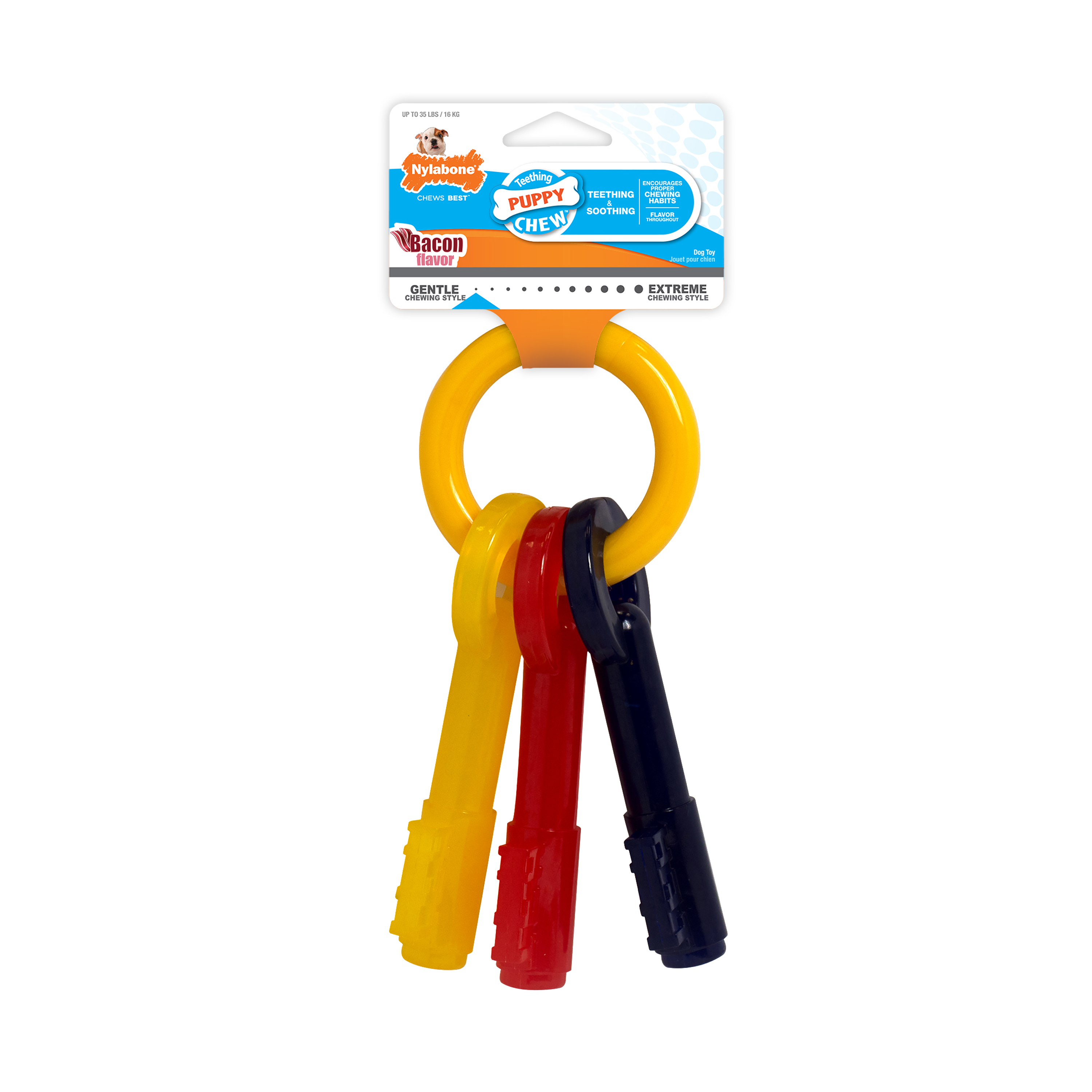Nylabone Just for Puppies Teething Puppy Keys, Bacon Chew Toy, Souper