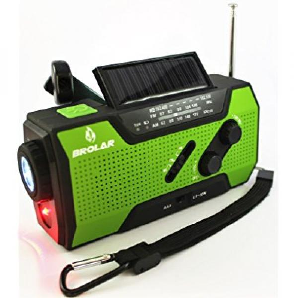 Click here to buy BROLAR Emergency Solar Hand Crank Radio Self Powered AM FM NOAA Weather Radio, Survival... by Brolar.