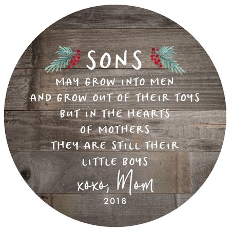 Gift for Son, Christmas Ornament 2018 Sons In The Hearts of Mothers Poem Present Idea, Mom from Child Xmas Ceramic Farmhouse 3