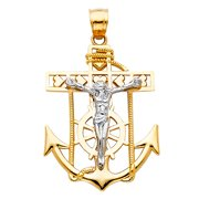 FB Jewels 14K White and Yellow Two Tone Gold Mariner Christian Crucifix Cross Big Pendant 30mm X 22mm