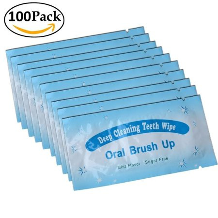 Impressive Smile 100 PCS Deep Cleaning Finger Toothbrush Teeth Cleaning Whitening Wipes for Oral Brush Ups Mint