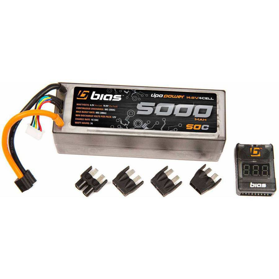 Bias 50C 4S 5000mAh 14.8V LiPo Hard Case Battery UNI Plug (EC3/Deans/Traxxas/Tamiya) for RC Car, Truck, Buggy, Boat, Heli, and Drone