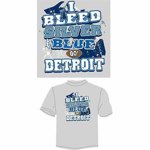 "Detroit Football ""I Bleed Silver and Blue, Go Detroit"" T-Shirt, Gray"