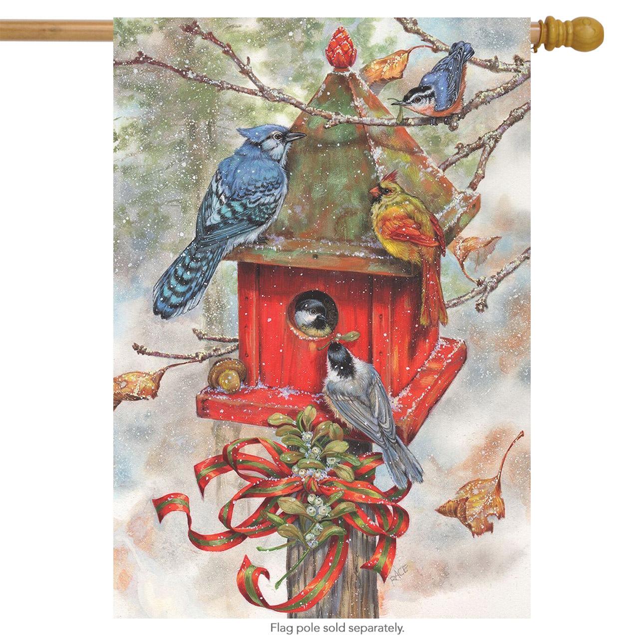 """Winter Birdhouse House Flag Snowy Birds 28"""" x 40"""" by"""