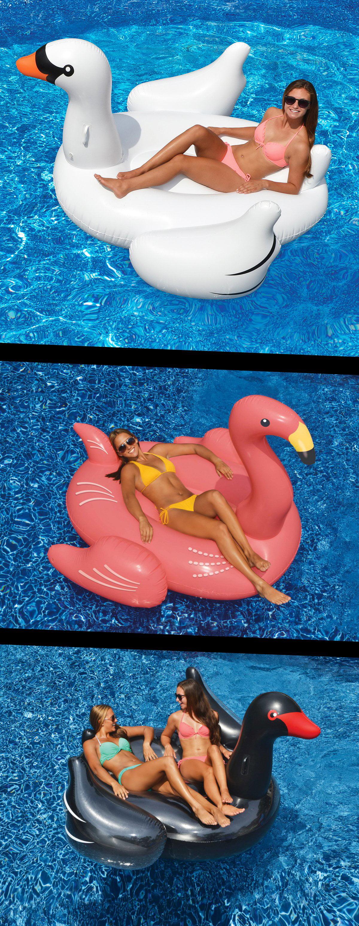 Swimline Swimming Pool Giant Rideable Float Set, White Black Swans + Flamingo by Swimline Corp