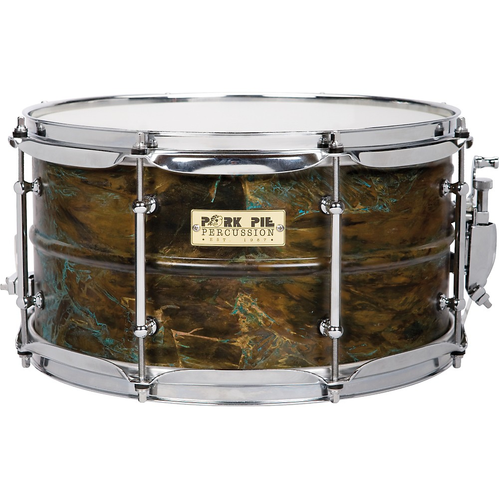 Pork Pie Brass Patina Snare Drum 7 x 13 by Pork Pie