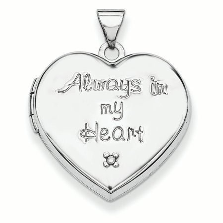 Sterling Silver 21mm Heart with Diamond Locket (Charm Inside Locket) Diamond Heart Locket Necklace